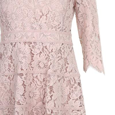 flare line lace dress pink